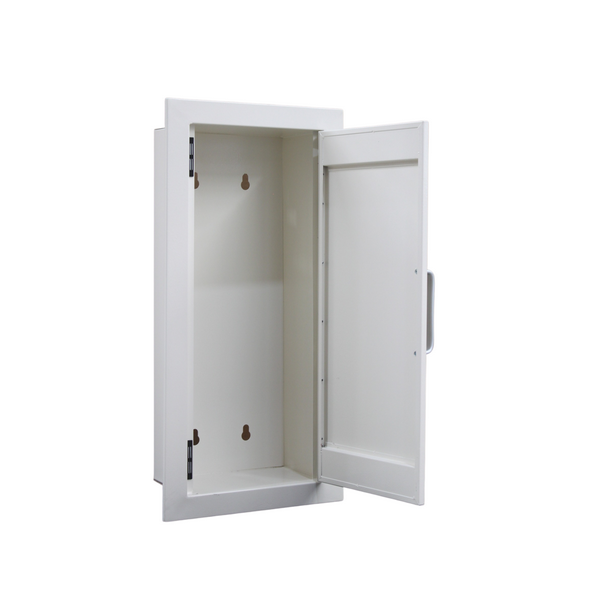 recessed fire extinguisher cabinet 4.5kg white open